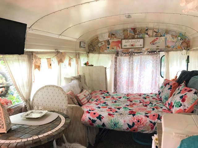 This cute bus to camper makeover will inspire you to follow your dreams