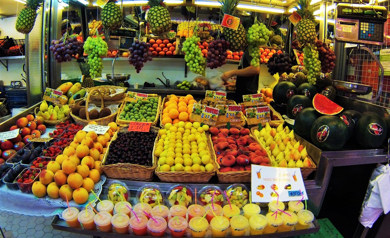 fruit stall at Mercato Central in Valencia, Spain